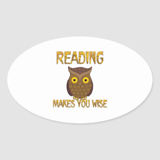 Reading Makes You Wise Oval Sticker