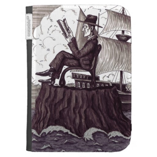 Reading man pen ink black and white drawing case for the kindle