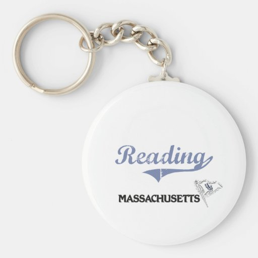 Reading Massachusetts City Classic Basic Round Button Keychain