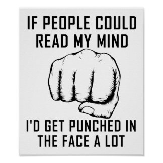 Reading Minds Punching Funny Poster