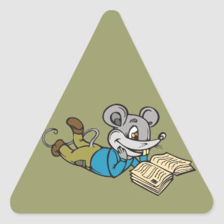 Reading Mouse Triangle Sticker