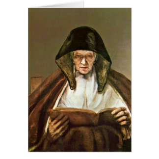 Reading Old Woman By Rembrandt Van Rijn Greeting Card