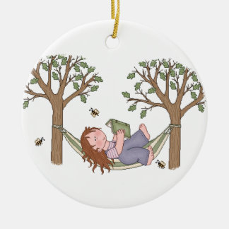 Reading Outdoors Is Fun! Ceramic Ornament