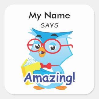 Reading Owl - Amazing! Square Sticker