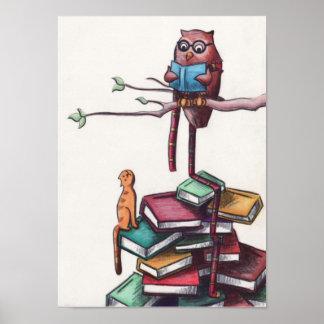 Reading Owl Poster