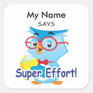 Reading Owl -Super Effort! Square Sticker