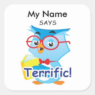 Reading Owl - Terrific! Square Sticker