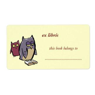 reading owls customizable exlibris label