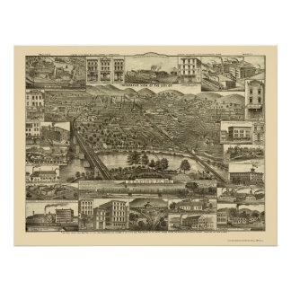 Reading, PA Panoramic Map - 1881 Poster