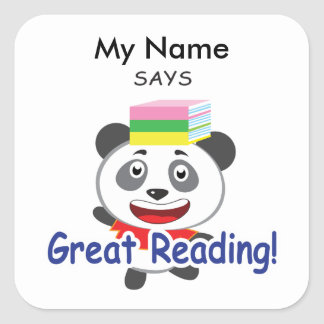 Reading Panda - Great Reading! Square Sticker