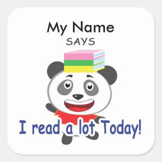 Reading Panda - I Read A Lot Today! Square Sticker