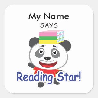 Reading Panda - Reading Star! Square Sticker