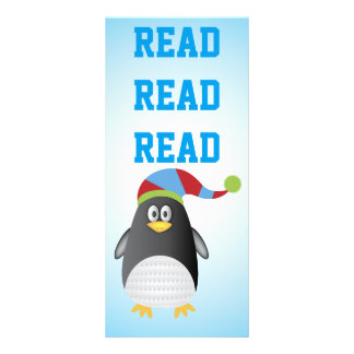 Reading Penguin Book Marker Personalized Rack Card