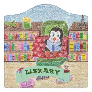Reading penguin library door sign