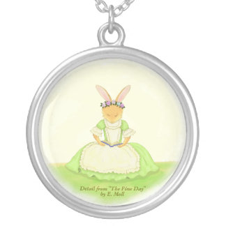 """Reading Rabbit: Detail from """"The Fine Day"""" Round Pendant Necklace"""