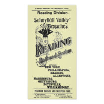 Reading Railroad System Timetable Cover 1894 Poster