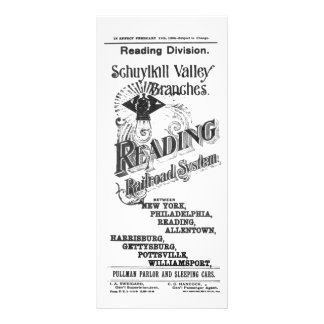 Reading Railroad System Timetable Cover 1894 Personalized Rack Card
