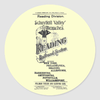 Reading Railroad System Timetable Cover 1894 Round Sticker