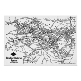 Reading Railway System Map Poster