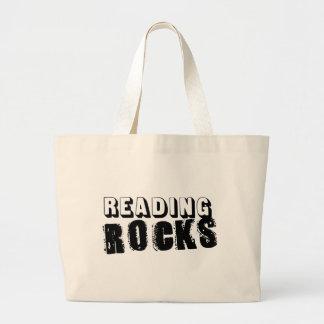 Reading Rocks Black Text Canvas Bag