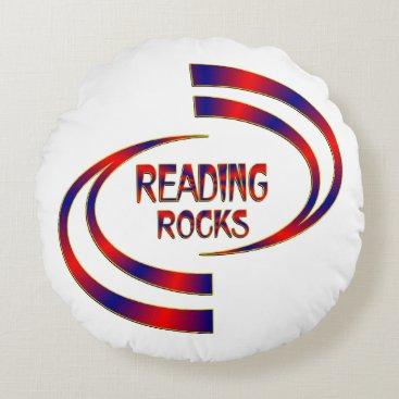Beach Themed Reading Rocks Round Pillow
