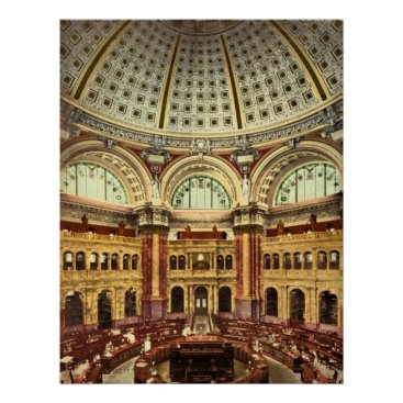 vintage_world Reading room Library of Congress Washington Poster
