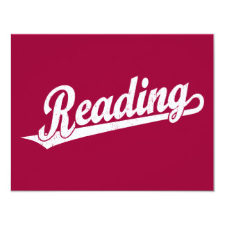 Reading script logo in white distressed card