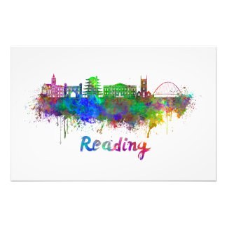Reading skyline in watercolor cojinete