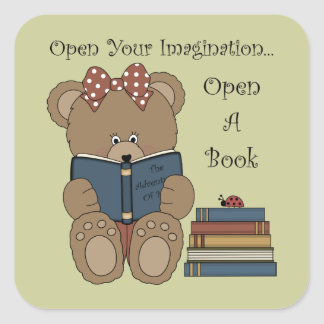 Reading Teddy Bear Sticker