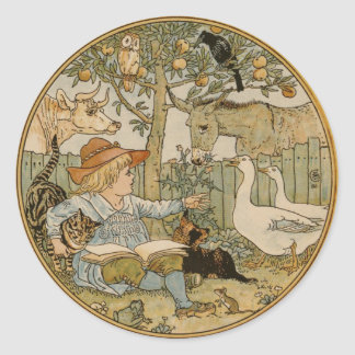 Reading to the Animals Classic Round Sticker