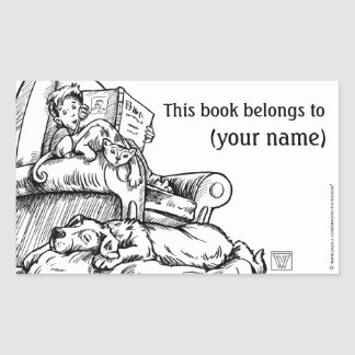 Reading to the Cat and Dog Book Plate Rectangular Sticker