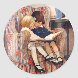Reading Together Classic Round Sticker