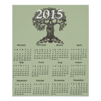 Reading Tree 2015 One Page Calendar Poster