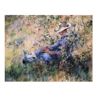 Reading Under a Flowering Hawthorne Bush Postcard