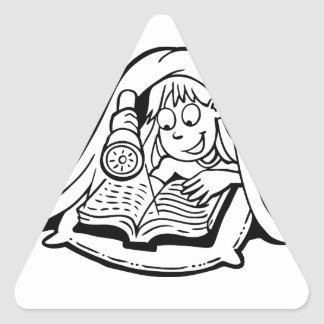 Reading Under The Covers Triangle Sticker