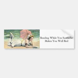 Reading While You Sunbathe Humor Bumper Sticker