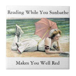 Reading While You Sunbathe Humor Ceramic Tile