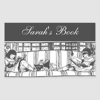Reading with Dolly Book Plate Rectangular Sticker