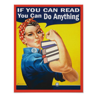 Reading with funny Rosie the Riveter Classic Poster