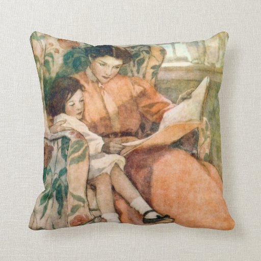 Reading with Mother on a Rainy Day Throw Pillow