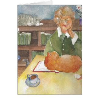 Reading with the cats blank card