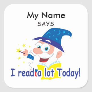 Reading Wizard - I Read A Lot Today Square Sticker