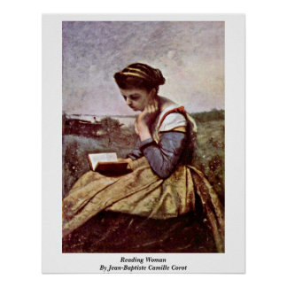 Reading Woman By Jean-Baptiste Camille Corot Poster