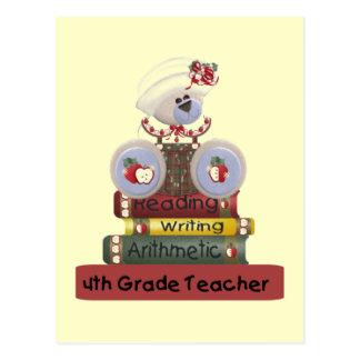 Reading, Writing, Arithmetic 4th Grade Teacher Postcard