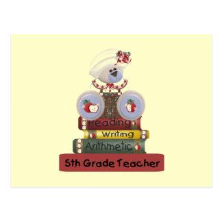Reading, Writing, Arithmetic 5th Grade Teacher Postcard