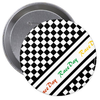 Ready 4 Race Day Classic Racing Check Black White Pinback Button