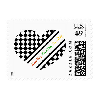 Ready 4 Race Day Classic Racing Check Black White Postage Stamp