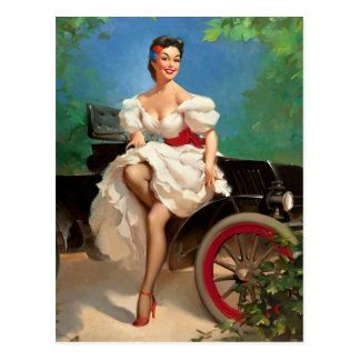 Ready for a Ride Pin Up Postcard