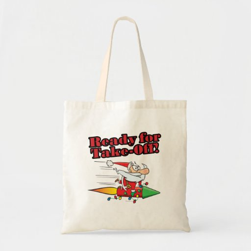 ready for take off rocket santa cartoon canvas bag