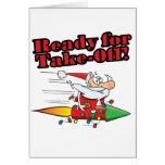 ready for take off rocket santa cartoon card